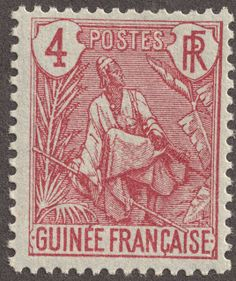 """French Guinea  1904 4c carmine/blue """"Fulah Shepard"""" The Fulah people and language is found in Guinea, Senegambia, Cameroon and Sudan"""