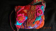 sari silk patchwork beaded embroidered textile cross- body hobo bag