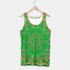 Summer landscape in green and gold Tank Top