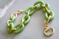 Arm Candy - spring green and gold link bracelet by Ngan on ETSY