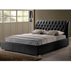 baxton studio bianca black modern queensize bed with tufted headboard 583 - Black Queen Bed