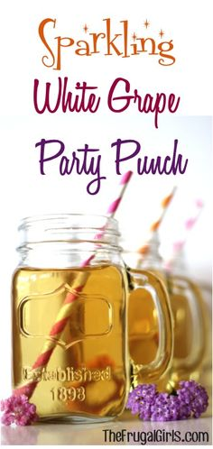 Sparkling White Grape Party Punch! ~ from TheFrugalGirls.com ~ perfect for your parties and showers! #punch #recipes