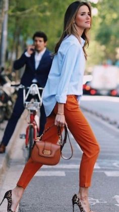 Work Fashion, Fashion Outfits, Womens Fashion, Cute Casual Outfits, Casual Chic, Orange Pants Outfit, Pantalon Orange, Moda Chic, Professional Outfits