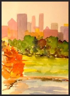 For Sale — Updog Gallery Watercolor Landscape, Watercolor Paintings, Nyc Skyline, Art Work, Landscapes, Gallery, Artwork, Paisajes, Watercolour Paintings