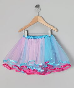 Take a look at this Pink & Blue Ribbon Tulle Tutu - Toddler & Girls by Tulles of Love on #zulily today!