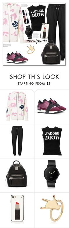 """""""Get the look"""" by vkmd ❤ liked on Polyvore featuring Barrie, Balenciaga, Christian Dior, MCM, South Lane, Kate Spade, Couture Colour and sweatpants"""