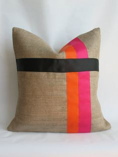 Pink and Orange with Black Grosgrain Ribbon and Burlap Pillow Cover
