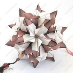 MK Kusudama Chandelle en fleur tutorial Origami Paper Folding, Origami And Quilling, Origami And Kirigami, Origami Ball, Modular Origami, Diy Origami, Origami Tutorial, Oragami, Origami Ornaments
