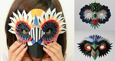 10 DIY Cardboard & Paper Masks for Halloween ⋆ Handmade Charlotte Maske Halloween, Halloween Masks, Halloween Crafts, Cardboard Mask, Cardboard Paper, Mascarilla Diy, Mascaras Halloween, Diy Karton, Bird Masks