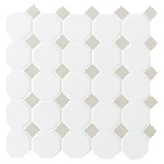 Finesse Matte White with Gray Dot 12 Inch x 12 Inch x 6mm Ceramic Octagon/Dot Mosaic Wall Tile (10 sq. Feet / Case)