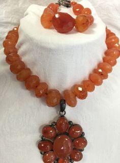 Hand made Semi Precious Stone Necklace with Pendant Includes Bracelet  #Handmade