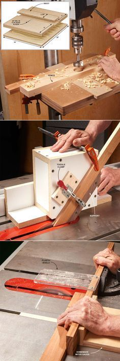 Simple Woodworking Jigs You Need :: Drill Press Table, Table Saw Guide Box, No-Wiggle Table Saw Crosscuts http://familyhandyman.com/woodworking/tips/dirt-simple-woodworking-jigs-you-need#5