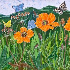 Welsh Poppies and Malvern Hills print, limited edition, orange poppy, orange wild flowers, yellow bl