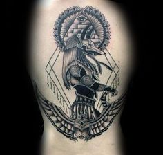 Ancient Egyptian Themed Mens Anubis Upper Arm Tattoo