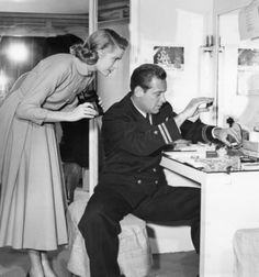"""Grace Kelly and William Holden behind the scenes of """"The Bridges at Toko-Ri"""". - See more at: http://williamholdendaily.tumblr.com/"""
