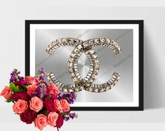 "Silver & Gold Coco Printable ""Coco Chanel 07"" Nursery, Glitter, Modern, Comercial Use by DigitalPrintStore on Etsy"