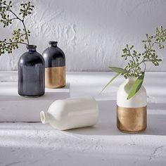 honeycomb studio bud vase white gold set of 3