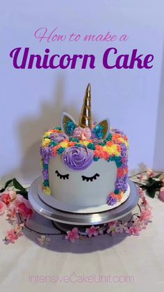 Step-by-step instructions to make your own adorable trendy Unicorn Cake! Step-by-step instructions to make your own adorable trendy Unicorn Cake! How To Make A Unicorn Cake, Easy Unicorn Cake, Unicorn Cake Pops, Unicorn Cakes, Unicorn Birthday Cakes, Unicorn Horns, Birthday Cupcakes, Unicorn Party, Mini Cakes