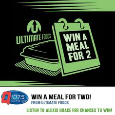 Win a Meal for 2 from #UltimateFoods listen to Alexis Grace today for chances to win! @goUltimateFoods
