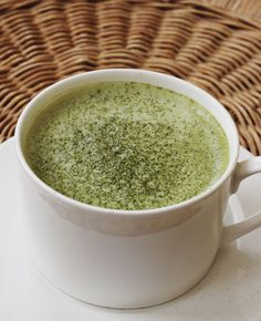 Matcha green tea latte recipe from A Beautiful Mess (no special equipment needed)