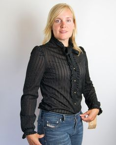 Vintage 1970s Black Blouse with Gold Stripes and Buttons, Tuxedo Ruffle, and Neck Tie. Tag still attached- Size S. on Etsy, $35.00