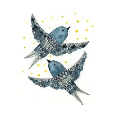 Indigo Birds - Archival Art Print
