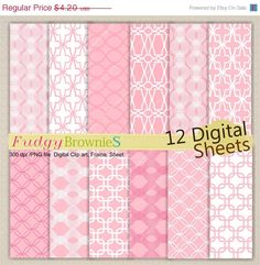 ON SALE Lattice Digital paper pack 7.5x11, scrapbooking , No.109 Digital paper, pink and white, Instant Download