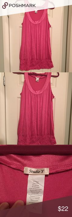 Never worn pink tank size XL from Maurices Never worn beautiful pink tank top size XL bottom band is very flattering!! Smoke free home!! Maurices Tops Tank Tops