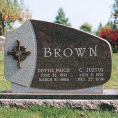 Upright monument for the Brown family