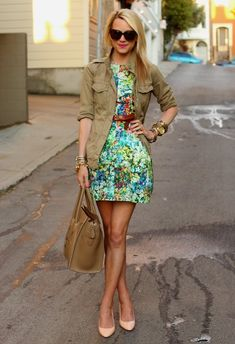 floral dress with military jacket