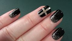 Champagne glitter, Chanel inspired manicure by arcadia nail art
