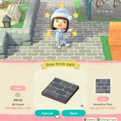 Wood Path, Brick Path, Stone Path, Grey Brick, Grey Wood, Grey Stone, Animal Crossing 3ds, Animal Crossing Villagers, Path Design