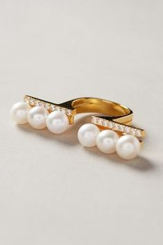 Gold Philosophy Parted Pearl Ring #anthrofave #anthropologie.com