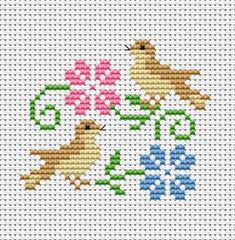 little birds in a very cheerful mood.A cross stitch design for cards with spring themes.The pattern is ideal for beginners.Two little birds in a very cheerful mood.A cross stitch design for cards with spring themes.The pattern is ideal for beginners. Cross Stitch Beginner, Tiny Cross Stitch, Cross Stitch Bookmarks, Cross Stitch Animals, Cross Stitch Designs, Cross Stitch Embroidery, Cross Stitch Patterns, Embroidery Patterns, Hand Embroidery