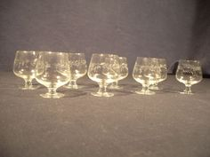VTG MID CENTURY MODERN Glasses Set/8 Cordial 1oz Stemware Original Etched Star