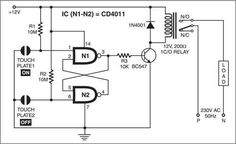 This touch-sensitive switch is built around NAND gate IC CD4011 and transistor BC547. When someone touches plate 1 (which is connected between pin 1 of gate N1 and ground), the RS flip-flop comprising gates N1 and N2 is set. The resulting high output at pin 3 of gate N1 energises the relay via relay driver …