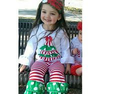 SALE- Ready to Ship! Christmas Couture Ruffle Pant Set, Baby Girl Toddler Christmas Outfit,Girls Christmas Outfit, Girl Christmas Clothes