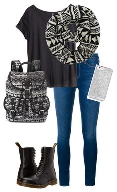 """Untitled #259"" by hjpnosser ❤ liked on Polyvore featuring Frame Denim, H&M, Dr. Martens and Candie's"