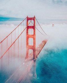 San Francisco fog show. Photo by Explore. Golden Gate Bridge Wallpaper, Golden Gate Bridge Painting, Beautiful Buildings, Beautiful Places, City Photography, Cool Landscapes, Travel Inspiration, Painting Inspiration, Scenery