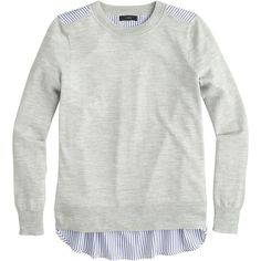 """""""J.Crew Mixed-Media Sweater ($99) ❤ liked on Polyvore featuring tops, sweaters, shirts, long sleeves, shirts & tops, long sleeve shirts, j crew shirt, long sleeve tops and j.crew"""