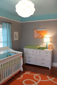Bright and Modern Orange, Turquoise, Gray Nursery Room View