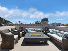 How about this roof deck for your next happy hour hang out? Gather around the fire pit and kick back. See it only at HGTV.com.