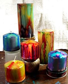Created by: Barb Black, Design Team Member   Description: Colorful Candles created using inexpensive white candles and Alcohol Ink .   Fo...