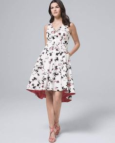 e1904eb68f Whbm Cotton Sateen Floral Fit-and Flare Dress Flare Dress