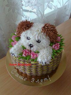 three ingredient mug cake Pretty Cakes, Cute Cakes, Dog Cakes, Cupcake Cakes, Puppy Cake, Animal Cakes, Novelty Cakes, Cake Decorating Tips, Buttercream Cake