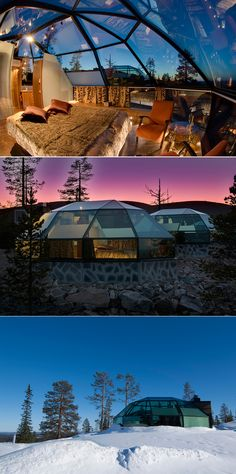 Hotel and Igloo Village Kakslauttanen-Finland features 20 glass igloos, 40 log cabins, snow igloos, etc. If you're there for the northern lights, the glass igloos offer the perfect view.