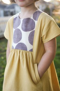 hide-and-seek dress in yellow Andover fabrics chambray by probably actually Sewing For Kids, Baby Sewing, Sewing Clothes, Diy Clothes, Dress Sewing, Barbie Clothes, Fashion Kids, Girl Fashion, Baby Girl Dresses