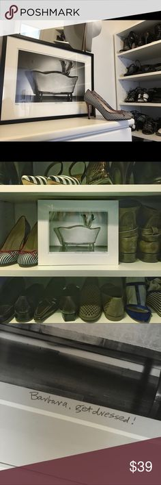 """👗👠CLOSET ART! """"Susana, Get Dressed!""""👔👒👜 My favorite piece of closet art, customized just for you! This listing is the 8 x 10 version. A high quality photo print, matted in acid free museum board and shrink wrapped. We put your name in the title line """"Sarah, Get Dressed!""""  Two sizes to choose from. Frame either the 8 x 10 or the 11 x 14 in common sized frames. The original my husband made for me and every day it reminds me to """"get my act together""""! Put one in your bedroom, bathroom or…"""