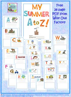 FREE printable: My Summer Vacation A to Z Memory Book for writing and drawing in free PDF