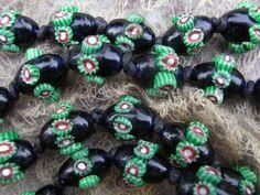 Art Deco Venetian Raised Eye Millefiori Glass Beads Necklace